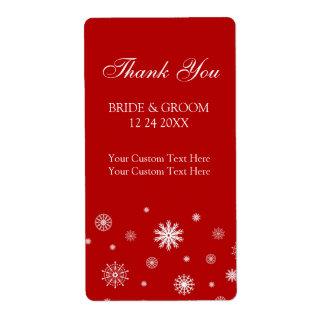 Etiquetas blancas rojas del boda del invierno de l etiqueta de envío