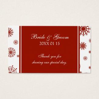 Etiquetas blancas rojas del favor del boda del tarjetas de visita