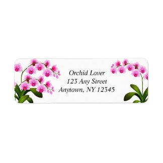 Etiquetas blancas rosadas de las flores de la orqu etiquetas de remite