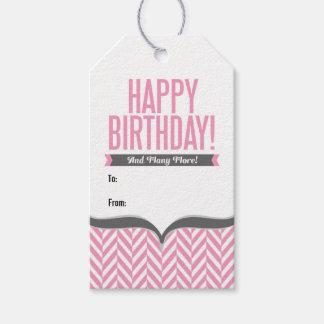 Etiquetas blancas rosadas del regalo de cumpleaños etiquetas para regalos