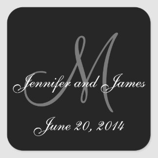 Etiquetas blancos y negros del boda del cuadrado calcomanías cuadradas