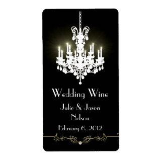 Etiquetas blancos y negros del vino del boda de la etiqueta de envío