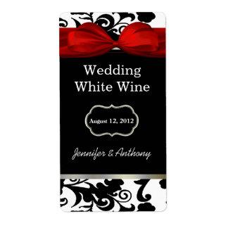Etiquetas blancos y negros del vino del boda del d etiqueta de envío