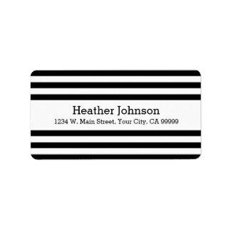 Etiquetas blancos y negros modernas del remite de etiquetas de dirección