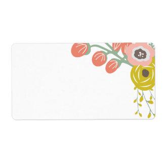 Etiquetas botánicas rosadas en blanco etiqueta de envío