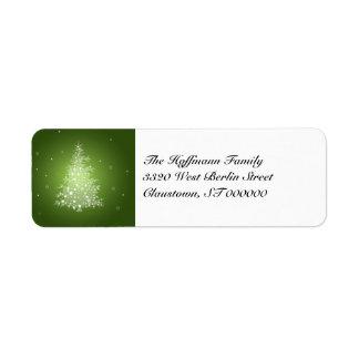 Etiquetas brillantes del remite del árbol de navid etiqueta de remite