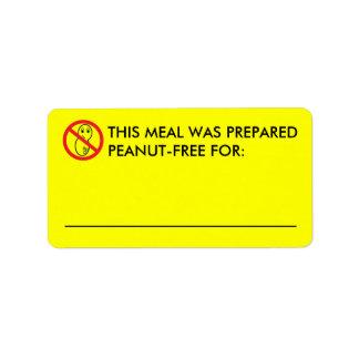 Etiquetas Cacahuete-Libres de la comida Etiquetas De Dirección