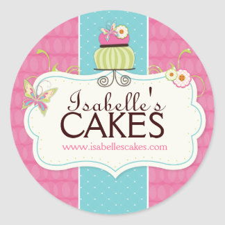 Etiquetas caprichosas de la torta etiqueta redonda