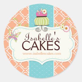 Etiquetas caprichosas de la torta etiquetas redondas