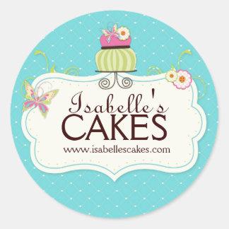 Etiquetas caprichosas de la torta pegatina redonda