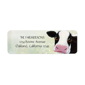 Etiquetas caprichosas del remite de la vaca etiquetas de remite