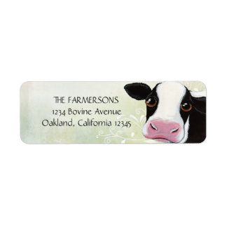 Etiquetas caprichosas del remite de la vaca etiqueta de remite