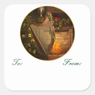 Etiquetas célticas del regalo del navidad de la pegatina cuadrada