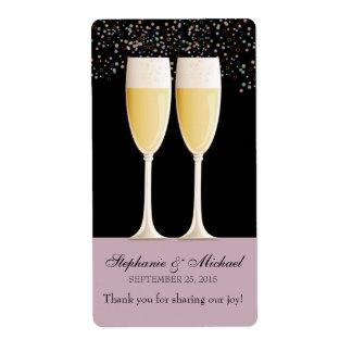 Etiquetas chispeantes del vino del favor del boda  etiqueta de envío