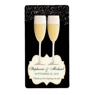 Etiquetas chispeantes del vino del favor del boda  etiquetas de envío