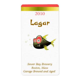 Etiquetas chistosas de la cerveza de los pescados  etiquetas de envío