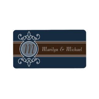 Etiquetas clásicas del boda de la cosecha del arán etiqueta de dirección