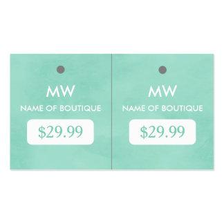 Etiquetas colgantes elegantes del monograma del tarjetas de visita