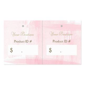 Etiquetas colgantes rosadas elegantes simples de tarjetas de visita
