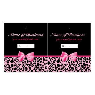 Etiquetas colgantes rosadas y negras de moda de tarjetas de visita