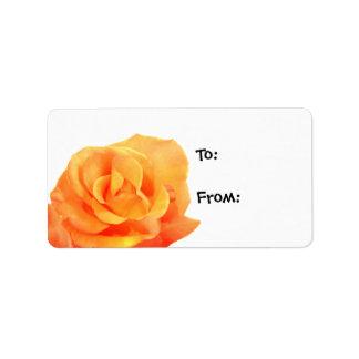 Etiquetas color de rosa anaranjadas del regalo etiqueta de dirección