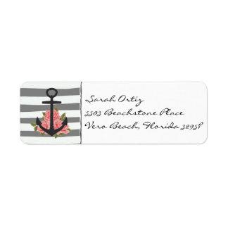 Etiquetas color de rosa grises náuticas del ancla etiquetas de remite