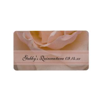 Etiquetas color de rosa rosadas de Quinceañera Etiquetas De Dirección