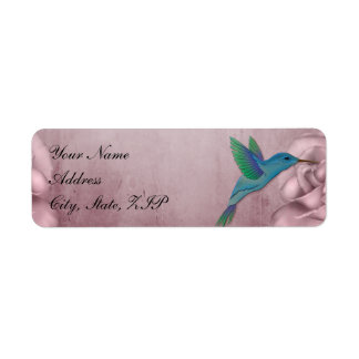 Etiquetas color de rosa rosadas del boda del colib etiqueta de remite