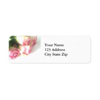 Etiquetas color de rosa rosadas del remite de la f etiqueta de remite