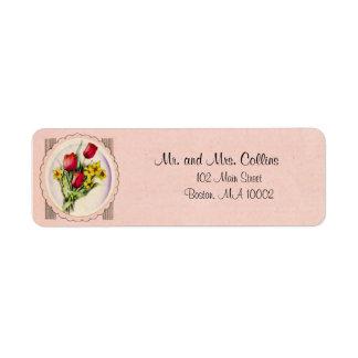 Etiquetas color de rosa y de la margarita del ramo etiqueta de remitente