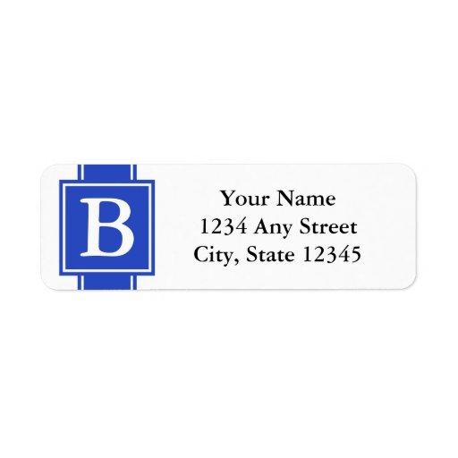 Etiquetas cones monograma azules y blancas del rem etiqueta de remitente