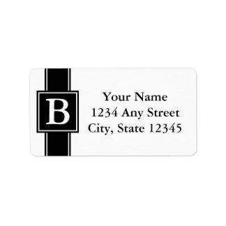Etiquetas cones monograma blancos y negros del rem etiqueta de dirección