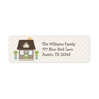 Etiquetas cones monograma del remite de la casa etiqueta de remitente