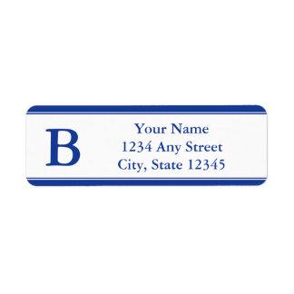 Etiquetas cones monograma del remite de los azules etiqueta de remite