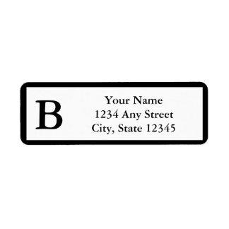 Etiquetas cones monograma negras de encargo del re etiqueta de remitente