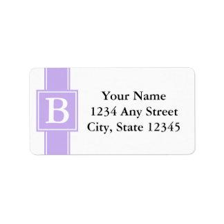 Etiquetas cones monograma púrpuras y blancas del r etiquetas de dirección