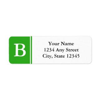 Etiquetas cones monograma verdes y blancas del rem etiqueta de remitente