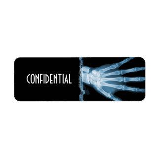 Etiquetas CONFIDENCIALES de la mano esquelética az Etiqueta De Remite