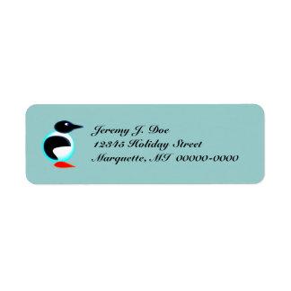 Etiquetas congeladas pingüino de neón caprichoso d etiqueta de remite
