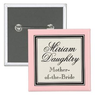 Etiquetas conocidas del banquete de boda - madre d pin cuadrada 5 cm