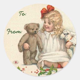 Etiquetas conocidas del navidad del Victorian Pegatina Redonda