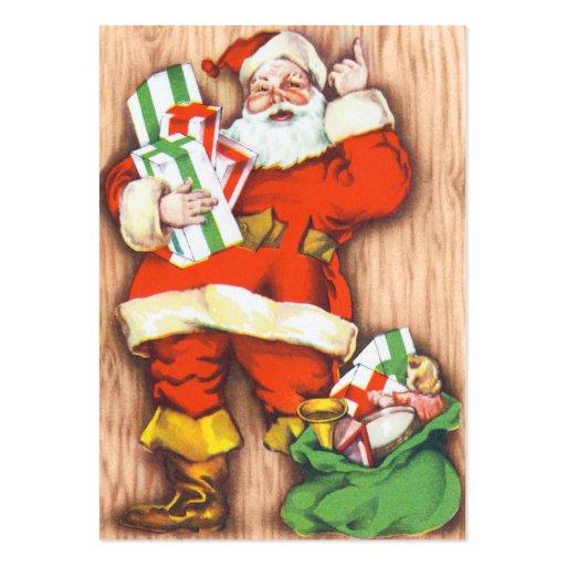 Etiquetas conocidas del navidad retro de Santa Tarjetas De Visita Grandes