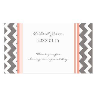 Etiquetas coralinas grises del favor del boda de C Plantilla De Tarjeta Personal