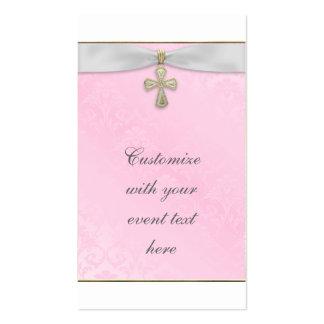 Etiquetas cruzadas rosadas de Bomboniere Plantilla De Tarjeta Personal