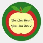 Etiquetas de Apple para la cocina o Clasroom Etiqueta Redonda