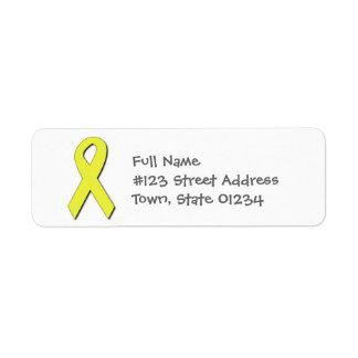 Etiquetas de correo amarillas de la cinta etiquetas de remite