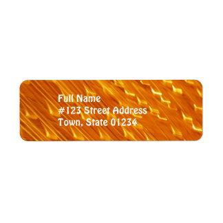 Etiquetas de correo anaranjadas de la lava etiqueta de remite