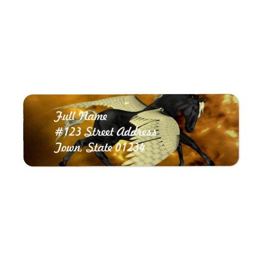 Etiquetas de correo coas alas de oro   de Pegaso Etiqueta De Remite