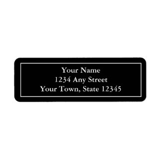 Etiquetas de correo con seña preimpresa negras y b etiqueta de remite
