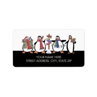 Etiquetas de correo de la dirección de los pingüin etiquetas de dirección